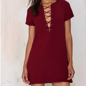 Nasty Gal Teenplo Lace Up T-Shirt Dress in Red